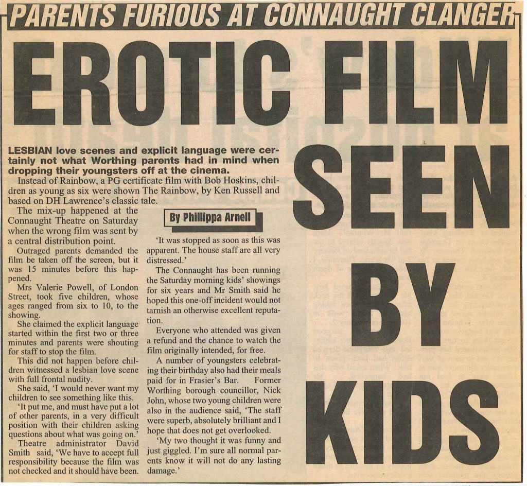 The Rainbow Controversy - Worthing Herald 19th March 1998