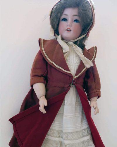 Doll in Red Coat by German Maker Simon Halbig c. 1914